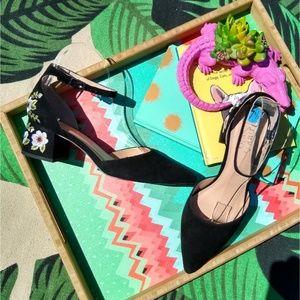 Franco Sarto Black Floral Embroidered Block Heels